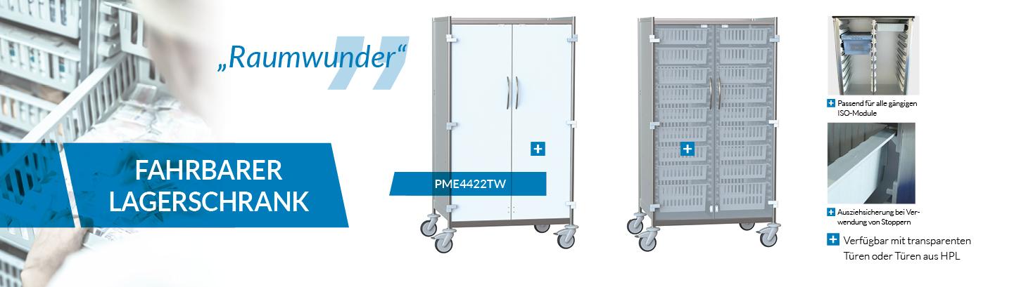 Produktneuheit - fahrbarer Lagerschrank PME4422TW