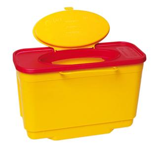 Abwurfbehälter für infektiöse Abfälle im Krankenhaus