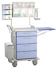 Pflegewagen als Verbandwagen mit vielen Ausstattungsoptionen und erhöhtem Griff