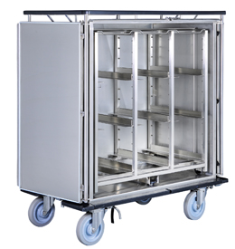 Transportwagen aus Edelstahl für Sterilgut