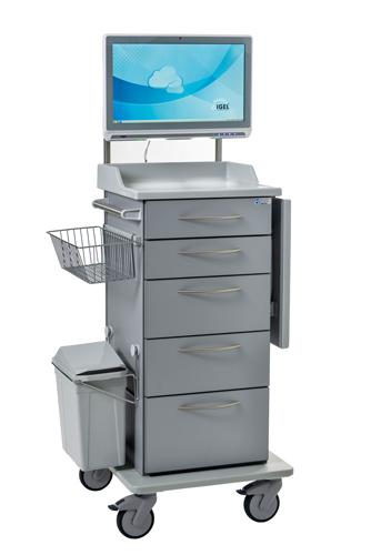Mobiler Visitenwagen mir Schubladen und mit Venus Panel-PC