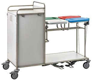 Etagenwagen mit Wäschesammler für Krankenhäuser