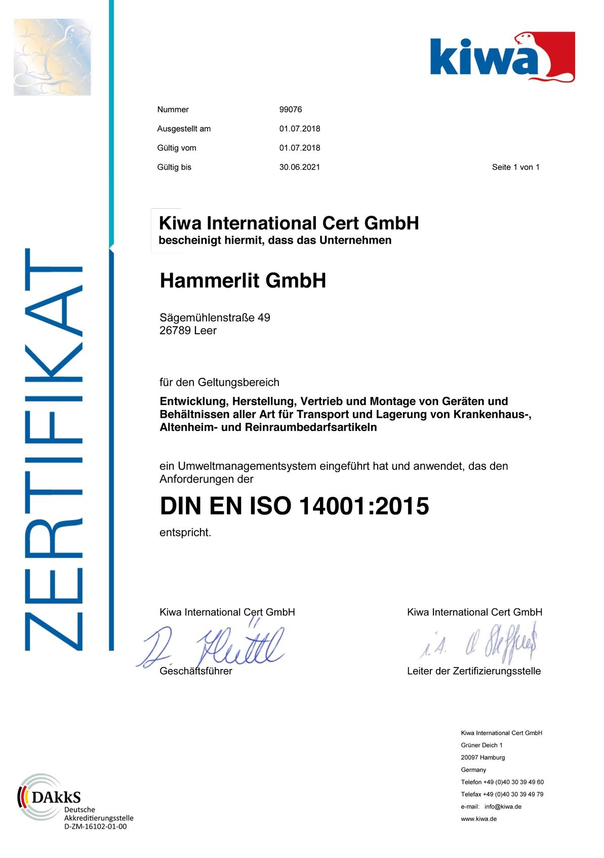 Zertifikat DIN EN ISO 14001